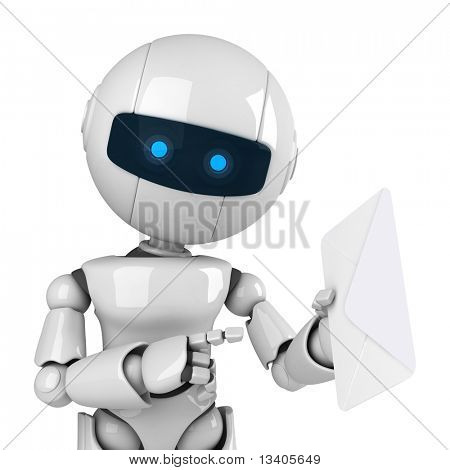 Funny white robot stay with mail