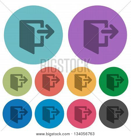 Color logout flat icon set on round background.