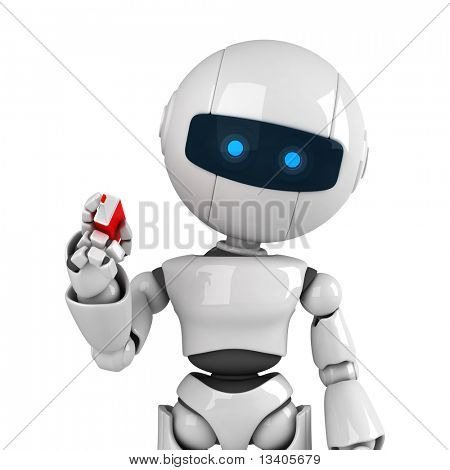 Funny white robot stay with marker