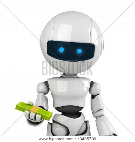 Funny white robot stay with money