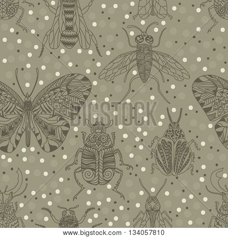 Seamless pattern with insects for design icons logo print or else. Bee mosquito wasp colorado beetle butterfly stag beetle fly. Vector illustration.