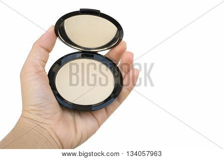 Makeup Pressed Powder In Women's Hand