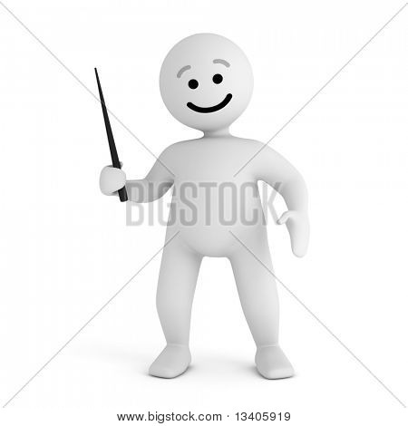 Funny smile character with pointer