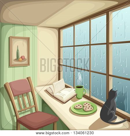 Vector illustration of a cozy room and rain outside the big window.