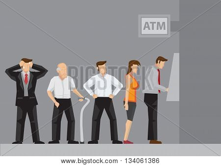 Young and old people waiting in line to draw money from self-service Automated Teller Machine. Cartoon vector illustration isolated on grey background.