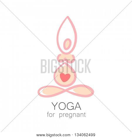 Yoga for pregnant. Concept Logo design template. Idea for emblem and logotype for Yoga studio and classes for pregnant women. Vector graphic illustration.