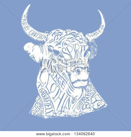 bull illustration with typography 2