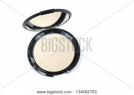 isolated top view makeup pressed powder compact
