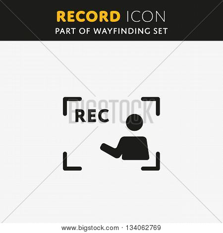 Vector Rec Icon. Video sign in flat style. Illustration symbol.