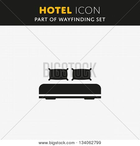 Double bed, web icon. Vector design sign. Hotel symbol. Illustration pillow