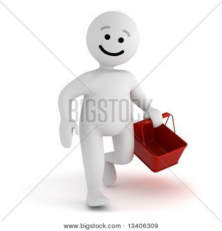 Funny smile character walk with empty shopping basket