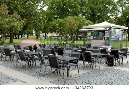 Saint-Petersburg.Vacation spot for tourists.Here you can sit quietly drink and eat