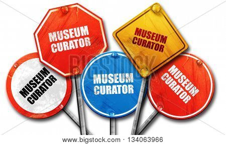 museum curator, 3D rendering, rough street sign collection
