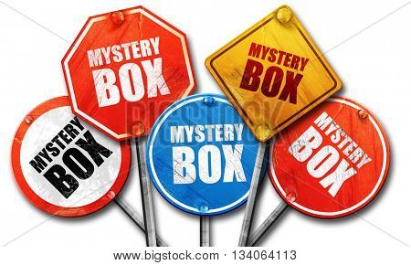 mystery box, 3D rendering, rough street sign collection