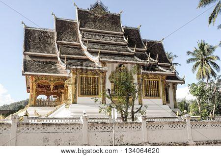 Golden Buddhist Temple in Luang Prabang, Laos
