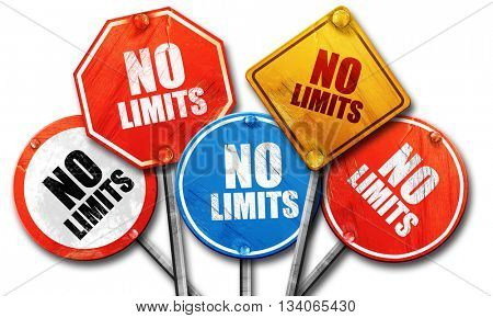 no limits, 3D rendering, rough street sign collection