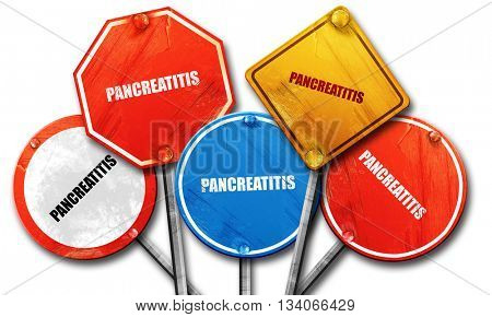 pancreatitis, 3D rendering, rough street sign collection
