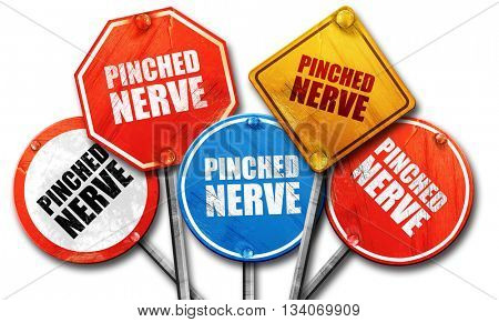 pinched nerve, 3D rendering, rough street sign collection