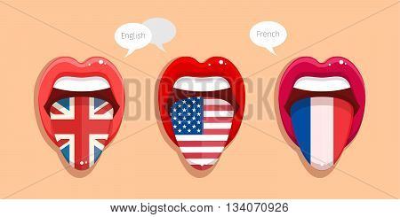 Learning languages concept. Learning English language, American language and French language. English language tongue open mouth with flag of Britain. English language tongue open mouth with flag of USA. French language tongue open mouth with French flag.