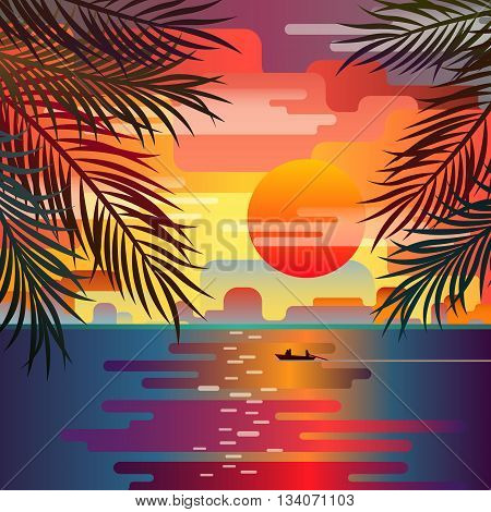 Beautiful beach sunset landscape with palm leaves. Sunset over the sea. Romantic sunset. Flat design, vector illustration.
