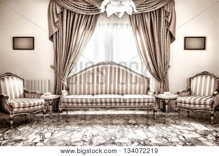 Beautiful retro interior design, luxury vintage style furniture, classic comfortable sofa and armchairs traditional set, marble floors, expensive design of house