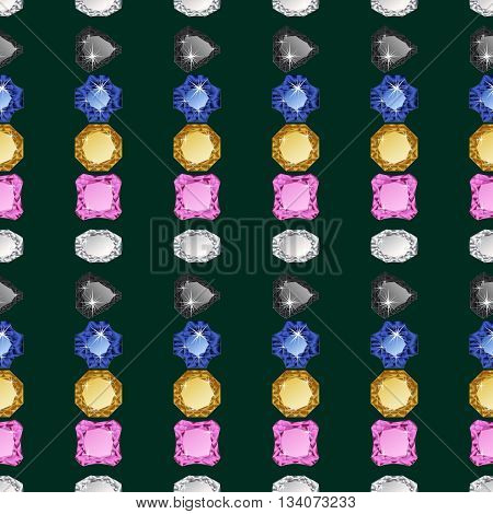 Diamonds seamless pattern. Vector illustration jewerly. Abstract diamond vector background. Jem seamless pattern. Seamless background, brilliant jewels. Wealth concept