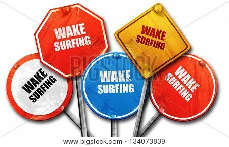 wake surfing sign background, 3D rendering, rough street sign co