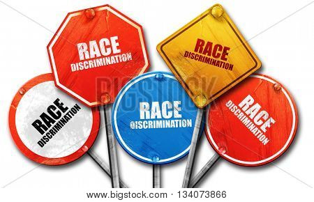 race discrimination, 3D rendering, rough street sign collection