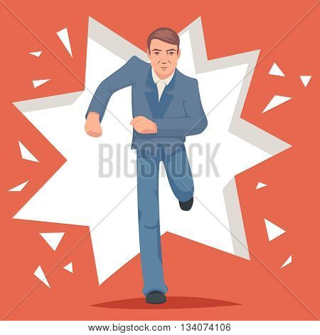 Retro Vintage Cartoon Poster Running Hurry Meeting Businessman Character Icon Stylish Broken Wall Space Background Design Vector Illustration