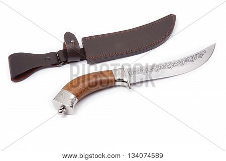 hunting knife and sheath isolated on white