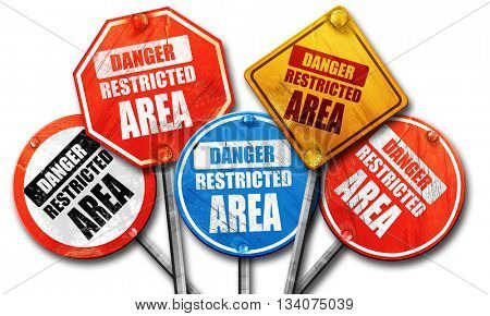 Restricted area sign, 3D rendering, rough street sign collection
