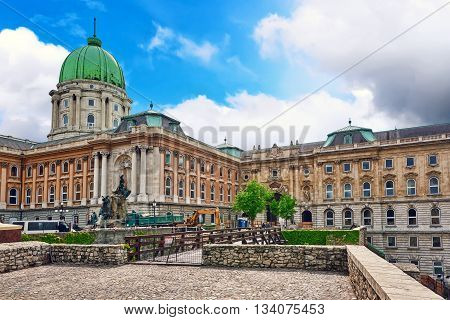 Budapest, Hungary-may 03, 2016 :budapest Royal Castle -courtyard Of The Royal Palace In Budapest Wit