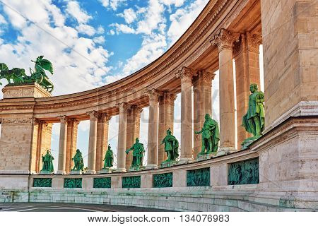 Heroes' Square-is One Of The Major Squares In Budapest, Hungary, Statue Seven Chieftains Of The Magy