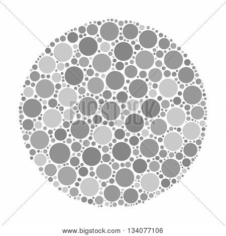 Circle made of dots in shades of grey. Abstract vector illustration inspired by medical Ishirara test for color-blindness.
