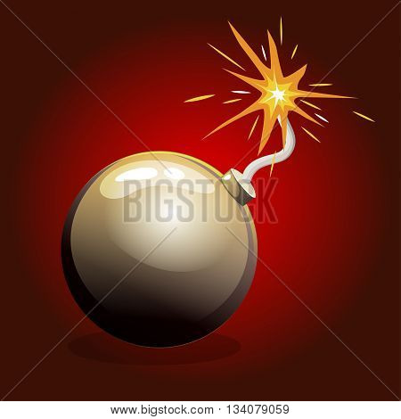 Catoon Dangerous round Bomb in vector illustrations