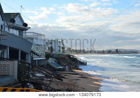 Sydney, AUSTRALIA - June 13, 2016. After the big storm, houses at Collaroy Beach front. The intense storm lashing the NSW coast has caused significant erosion at the Narrabeen and Collaroy Beach on Sydney's northern beaches last weekend.