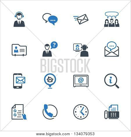 Contact Us Icons Set 2 - Blue Series. Set of icons representing customer assistance, customer service and support.