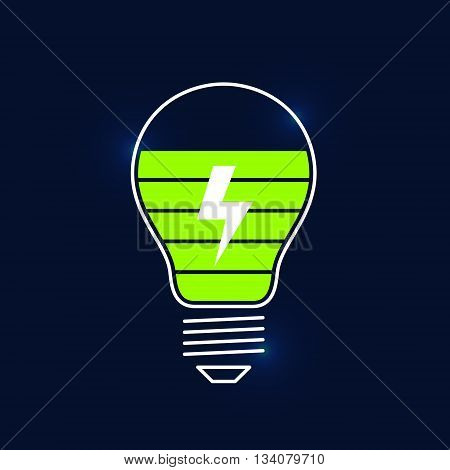 Charge indicator in form of light bulb and displaying of charging process. Charge on new ideas. Creative process concept