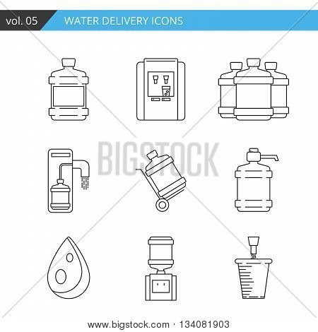 Set thin line water delivery icon isolated on white background
