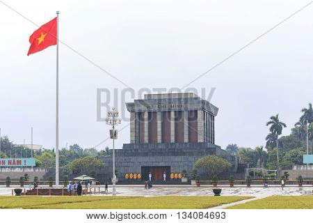 Hanoi Vietnam: February 23 2016: Ho Chi Min mausoleum in Hanoi city on a rainy day