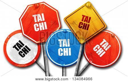 Tai chi, 3D rendering, rough street sign collection