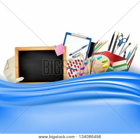 little blackboard border with notepad sheets color pencils pens rulerart palette pile of books and blue silky curtain. school vector horizontal background
