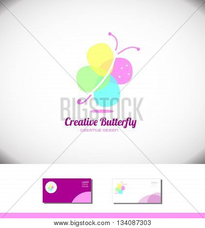 Vector company logo icon element template abstract colorful butterfly spa beauty product salon