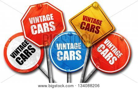 vintage cars, 3D rendering, rough street sign collection