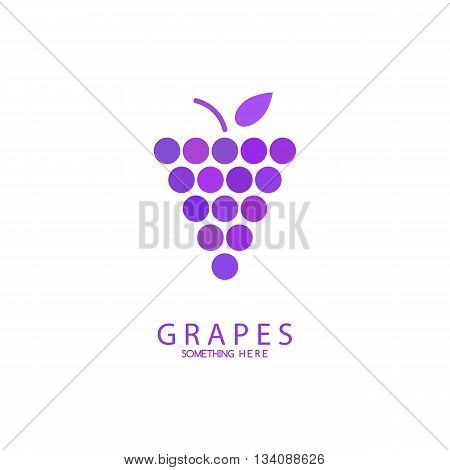 Abstract grapes logo template. Purple Grapes vector isolated. Grapes icon, logo. Nature grapes logotype. Wine or vine logo icon. Fruits and vegetables.