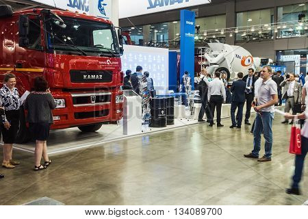 RUSSIAMOSCOW-May 312016:exhibits and accessories and exhibits at the International Specialized Exhibition of Construction Equipment and Technologies at Crocus Expo