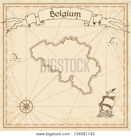 Belgium Old Treasure Map. Sepia Engraved Template Of Pirate Map. Stylized Pirate Map On Vintage Pape