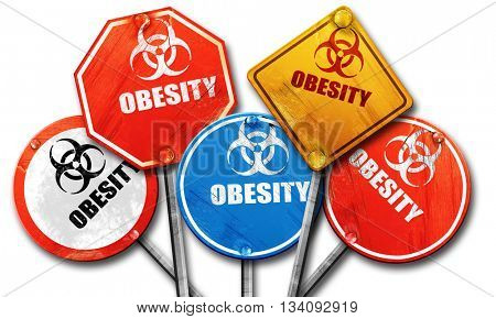 Obesity concept background, 3D rendering, rough street sign coll