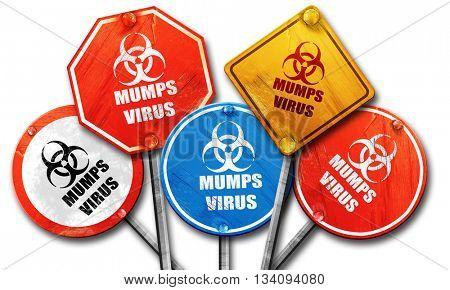 Mumps virus concept background, 3D rendering, rough street sign