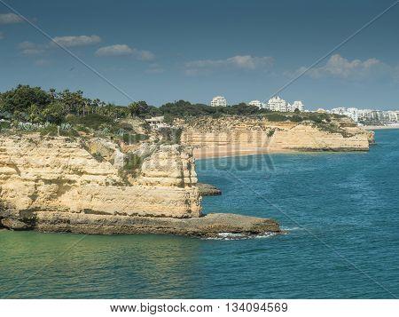 A view of coast Algarve near city Armação de Pêra in the south of the country Portugal 2016